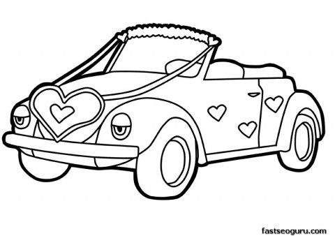 Printable cute car decorations with Hearts Valentines Day coloring ...