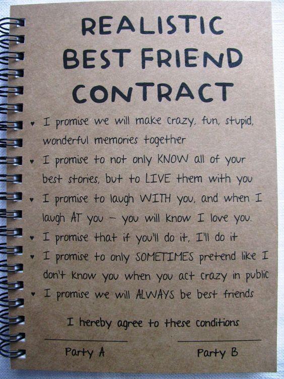 ReALiStiC Best Friend Contract 5 X 7 Journal By JournalingJane