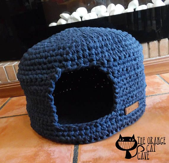 Blue Cat Cave Crochet Cat Bed Cat Cave Pet House Tshirt Yarn