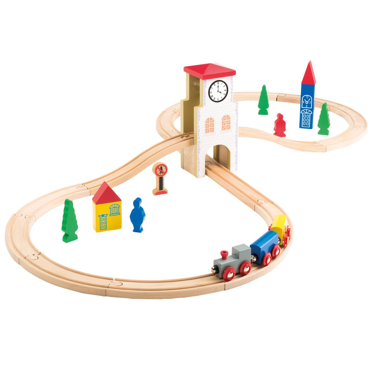 circuit de train en bois 31 pi ces oxybul pour enfant de 3 ans 8 ans oxybul veil et jeux. Black Bedroom Furniture Sets. Home Design Ideas