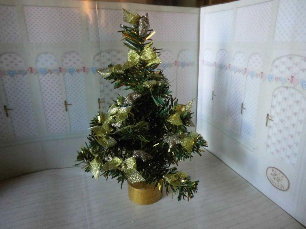 Puppenstube Puppenhaus Weihnachtsbaum ohne Licht mit Schleifen ...