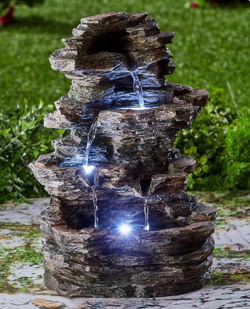 Lighted Stone Look Waterfall Led Lights Garden Lawn Fountain Indoor Outdoor Deco Unbranded Outdoor Waterfalls Garden Water Fountains Fountains Outdoor