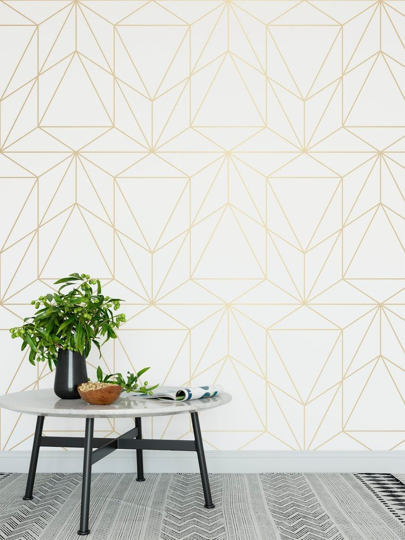 Peel And Stick Wallpaper Self Adhesive Wallpaper Removable Etsy Gold Geometric Wallpaper Geometric Wallpaper White And Gold Wallpaper