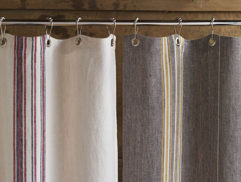 Organic Linen Shower Curtain Rustic Shower Curtains Cotton