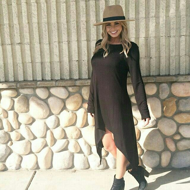 Black knit dress $25.00 also comes in heather grey  Hat $17.50 @shopseasonsboutique