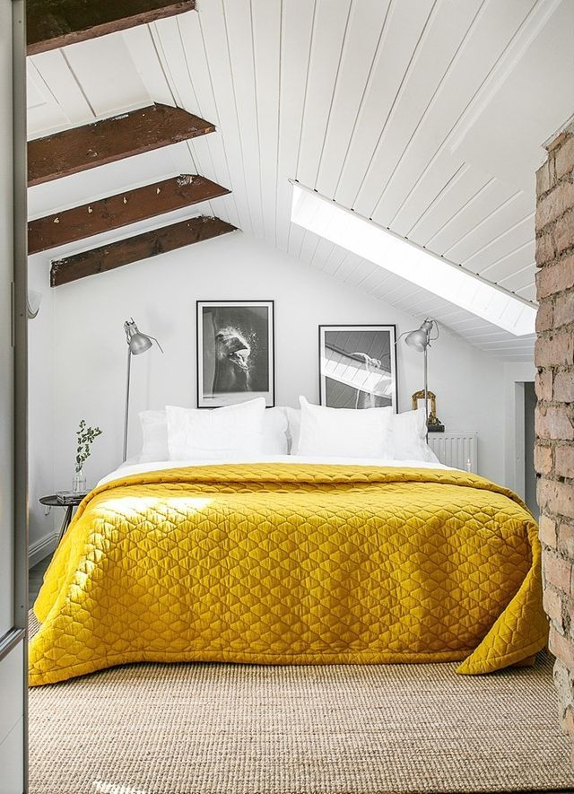 Awesome attic bedroom with a touch of yellow daily dream decor by http
