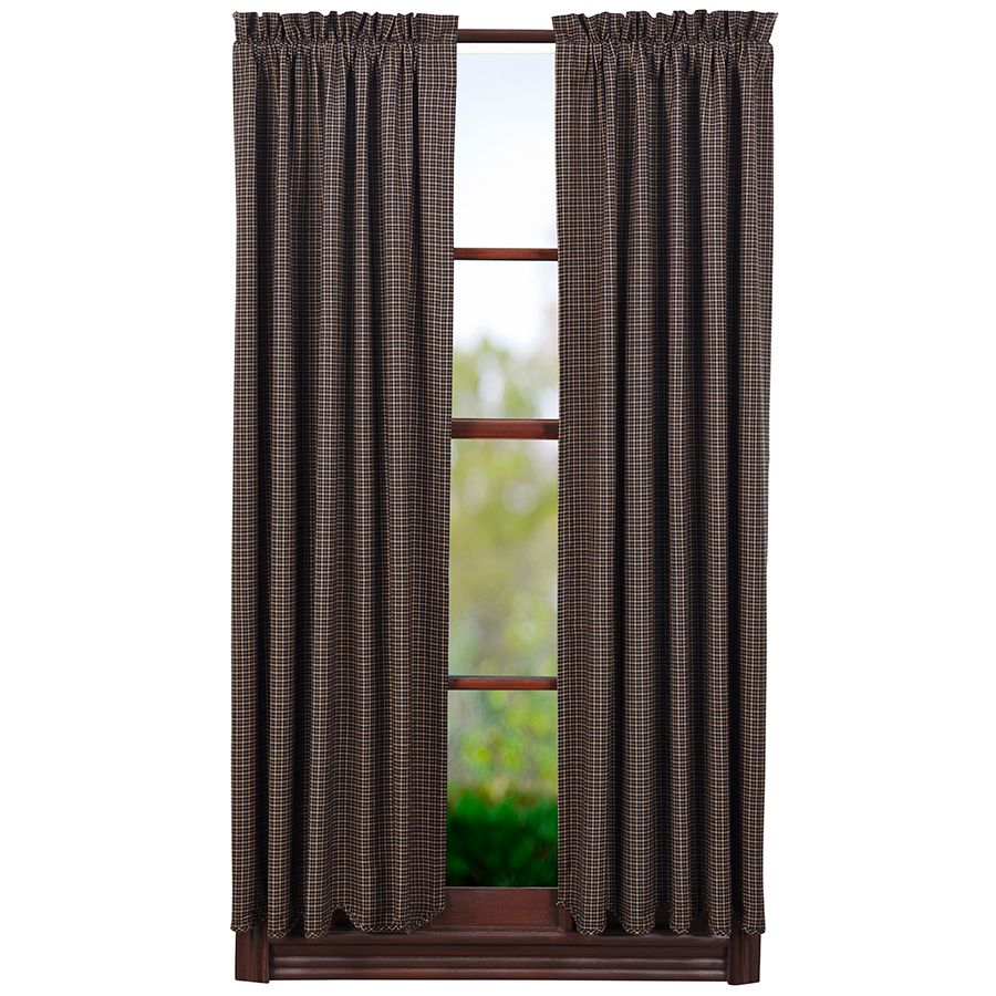 Kettle Grove Lined Scalloped Plaid Short Curtain Panels 63 X 36