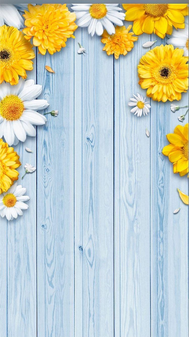 phone wallpaper yellow flowers on blue boards Flower