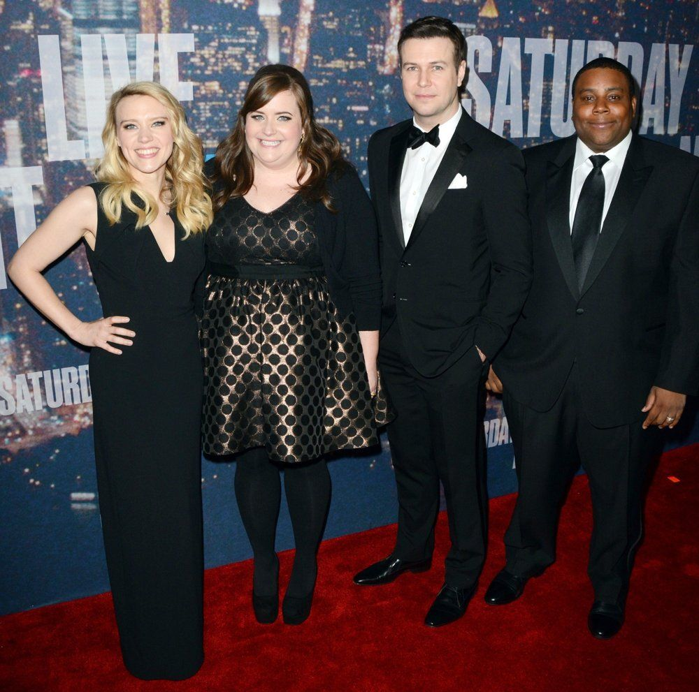 l to r kate mckinnon aidy bryant taran killam and kean thompson kate mckinnon