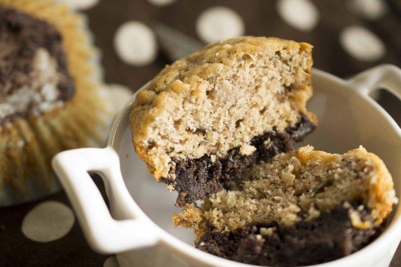Brownie Bottom Banana Bread Muffins