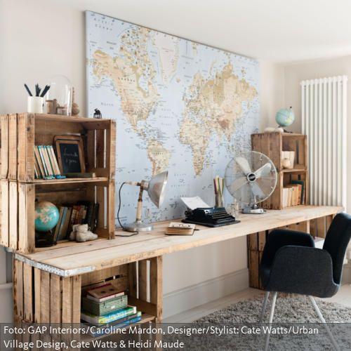 schreibtisch aus obstkisten lohnend wohnen pinterest obstkisten einfache diy und. Black Bedroom Furniture Sets. Home Design Ideas