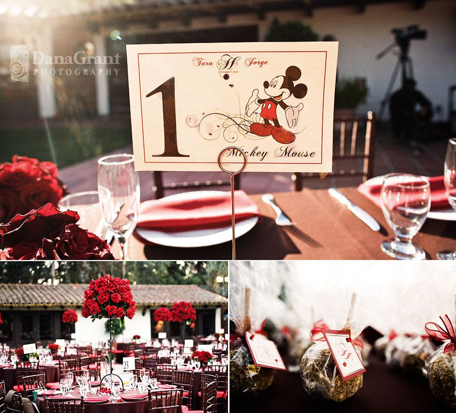 Disney Themed Custom Designed Table Numbers Favor Tags
