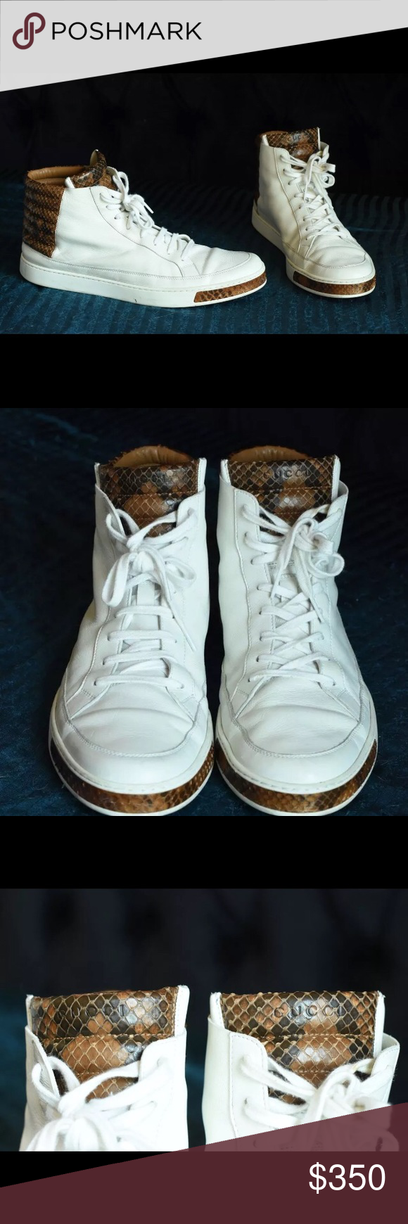 26887934037 Gucci python snake skin white leather hi top In excellent like new  condition - very clean 100% authentic Leather upper Python trim Leather  lining Rubber ...