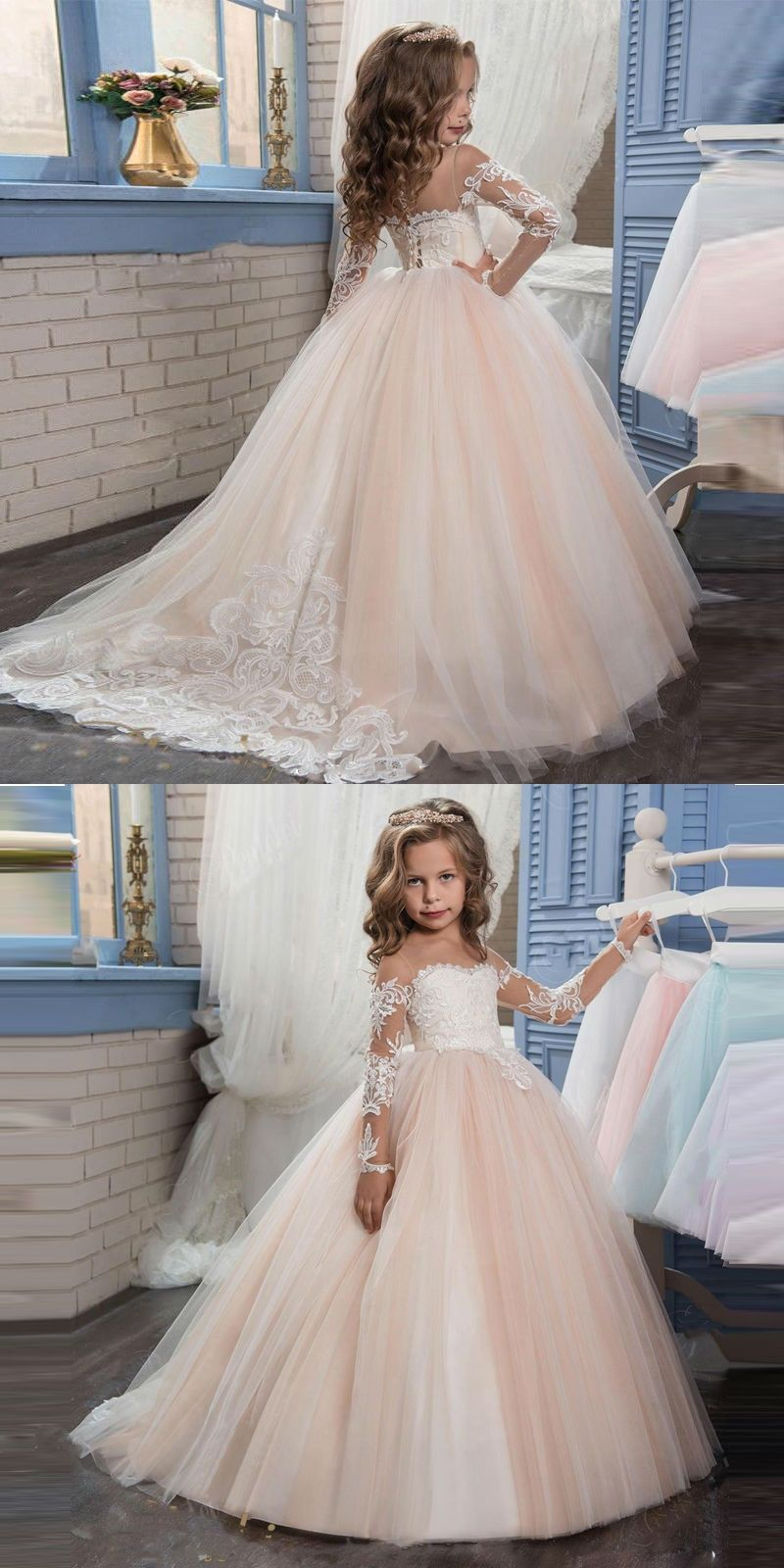 9ddc0131c28 2017 Lowime Champagne First Communion Dresses For Girls Lace Ball Gown  Flower Girl Dress Kids Evening