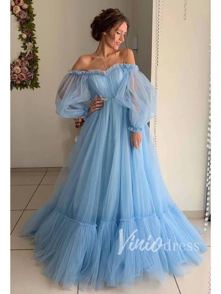 Long Sleeve Sky Blue Prom Dresses Off The Shoulder Formal Dress Fd1527 Prom Dresses Long With Sleeves Tulle Prom Dress Prom Dresses Blue [ 1024 x 768 Pixel ]