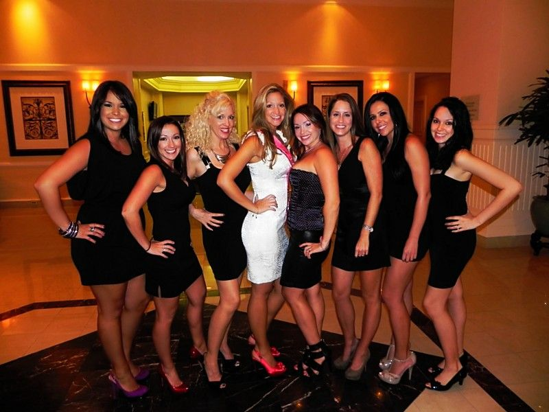 c555a91fa5 Bachelorette Party Dress Idea. All wear black and have bride wear white.  Much easier picking out the Bride instead of having to read shirts.