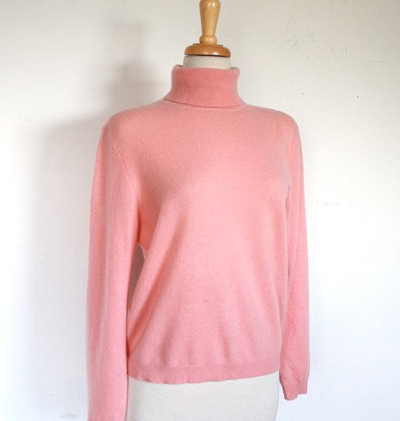 Vintage Cotton Candy Pink Cashmere Turtle Neck Sweater
