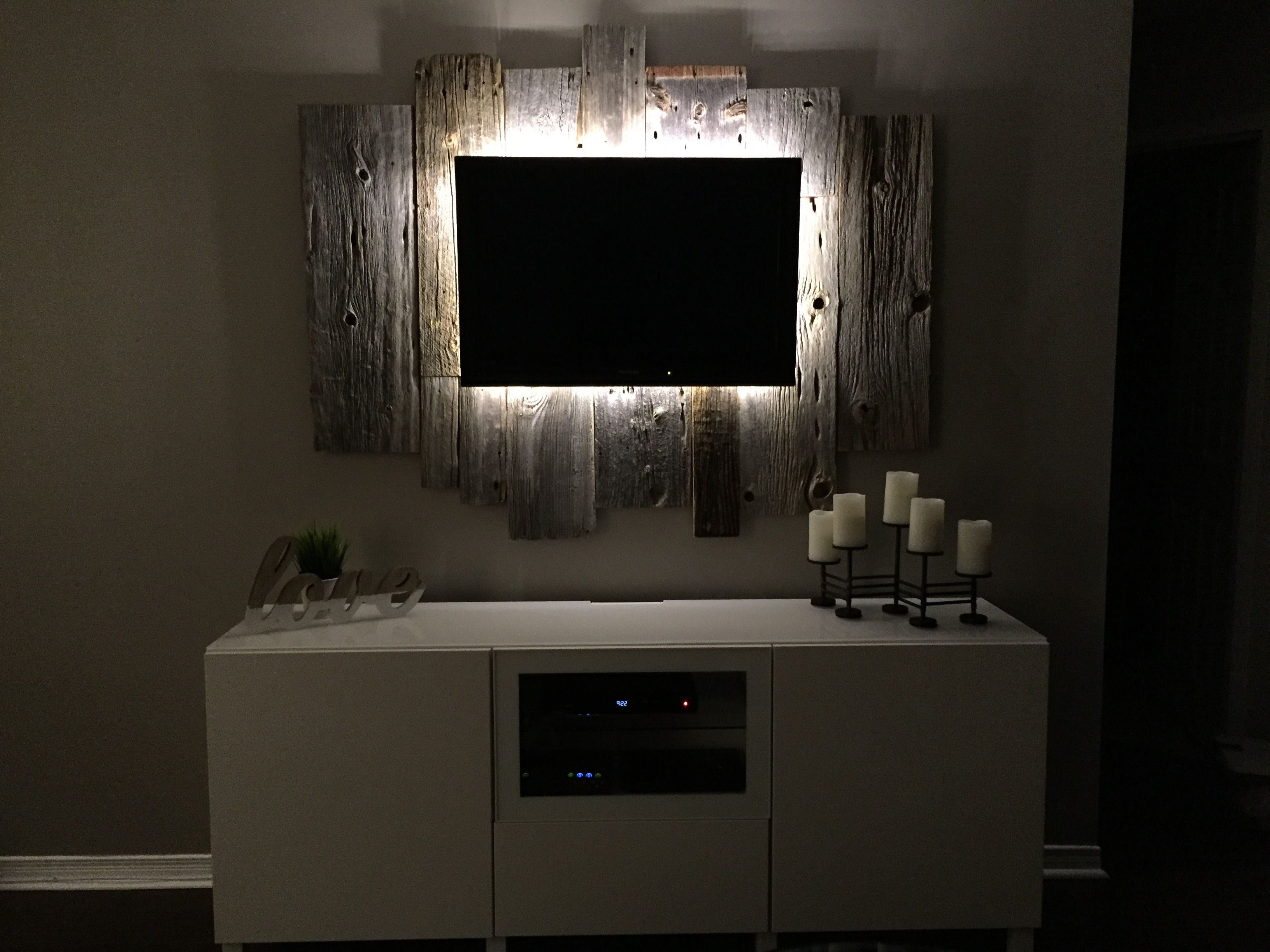 Back Lit Tv Wall Mount Made From Barn Wood Wall Mounted Tv Small Wall Living Room Built Ins