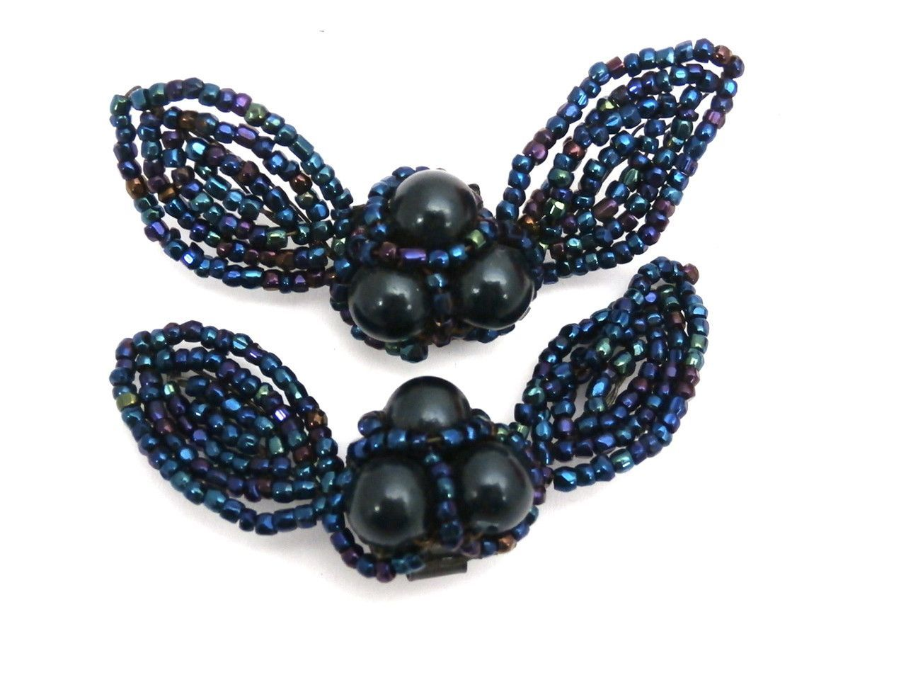 Vintage 1940s Shoe Buckles Blue Carnival Glass Bows 2.5""""
