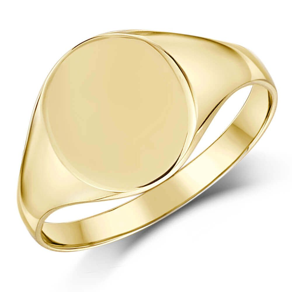 2ff85682b11cf Men's 9ct yellow Gold oval Signet Ring for little Finger 11mm   mens ...