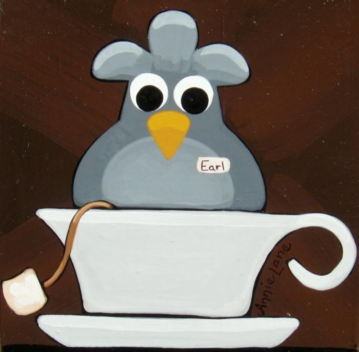 """ EARL GREY "" Whimsical Bird in Tea Cup Fun Kitchen Art by Annie Lane www.yessy.com/annielane"