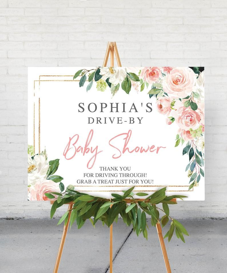 Baby Shower Yard Sign Ideas : shower, ideas, Printable, Drive, Shower, Welcome, Editable, Signs, Blush, Signs,