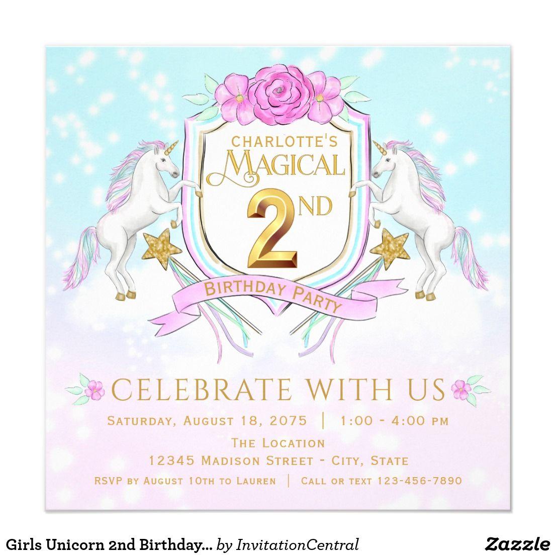Girls Unicorn 2nd Birthday Party Invitations   Kids Birthday Party ...