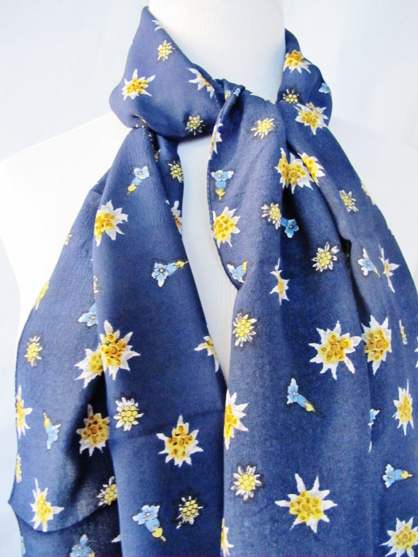 738169170bcde TRACHTEN EDELWEISS Scarf, Alpine Flowers, Enzian, Silk, made in Italy, Seta  Pura, Oblong 13 x 61