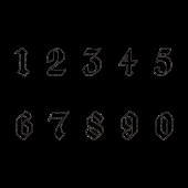 かっこいい 白抜きの数字 ナンバー スタンプ 白黒 イラスト 数字 数字デザイン スタンプ