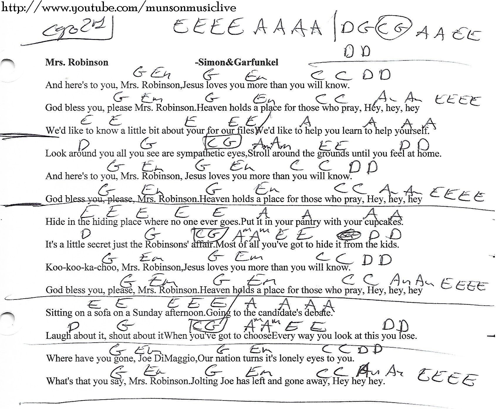 Mrs. Robinson Simon and Garfunkel Guitar Chord Chart   Just ...