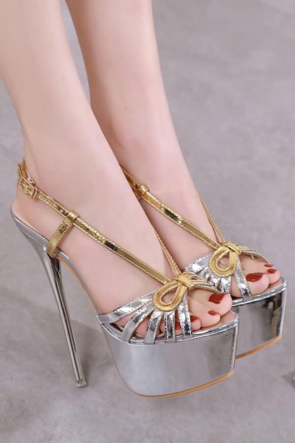 32842d4dd Women Silver Cutout Peep Toe Platform Stiletto High Heel Sandals - 5 ...