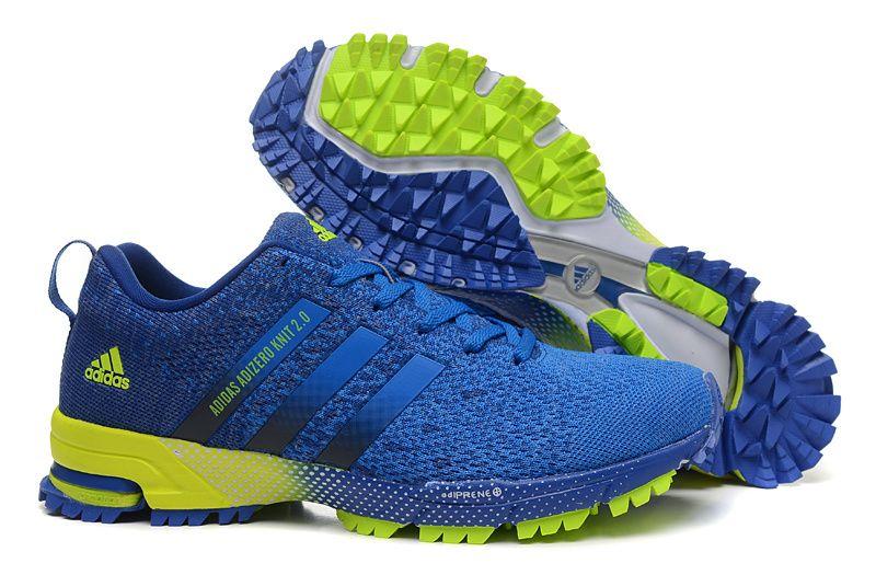 U Jogging shoes Men Adidas Adizero Knit 2.0 Royal Blue Varsity Blue Fluo  Green