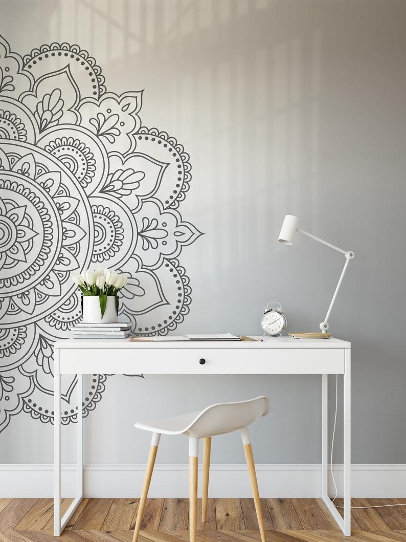Mandala Wall Art Sticker Half Mandala Wall Decal Large Vinyl Etsy In 2020 Room Wall Decor Mandala Wall Decor Decal Wall Art