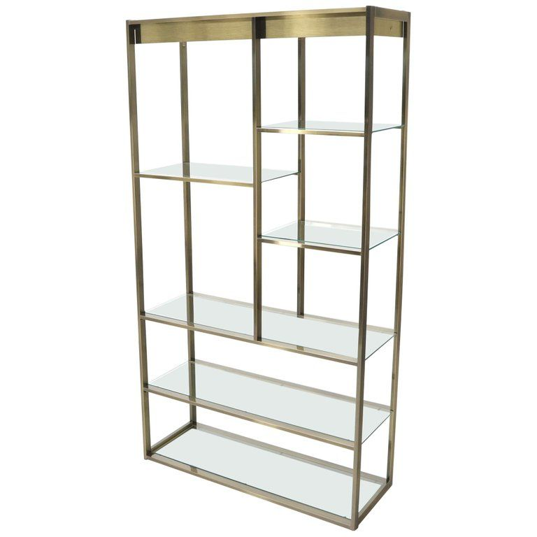 Brass And Glass Lighted Etagere Vitrine Glass Shelves Glass