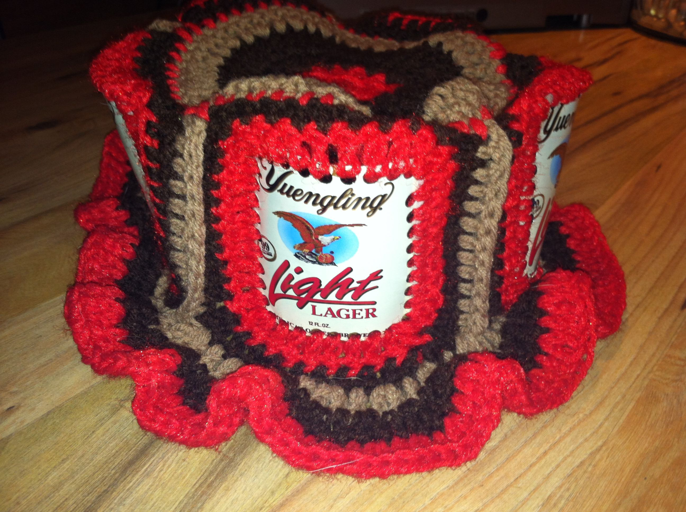 0ba5a5f569f This is the Yengling Beer can hat I Made. (sorry if I spelled the beer name  wrong). Crocheted beer cans together