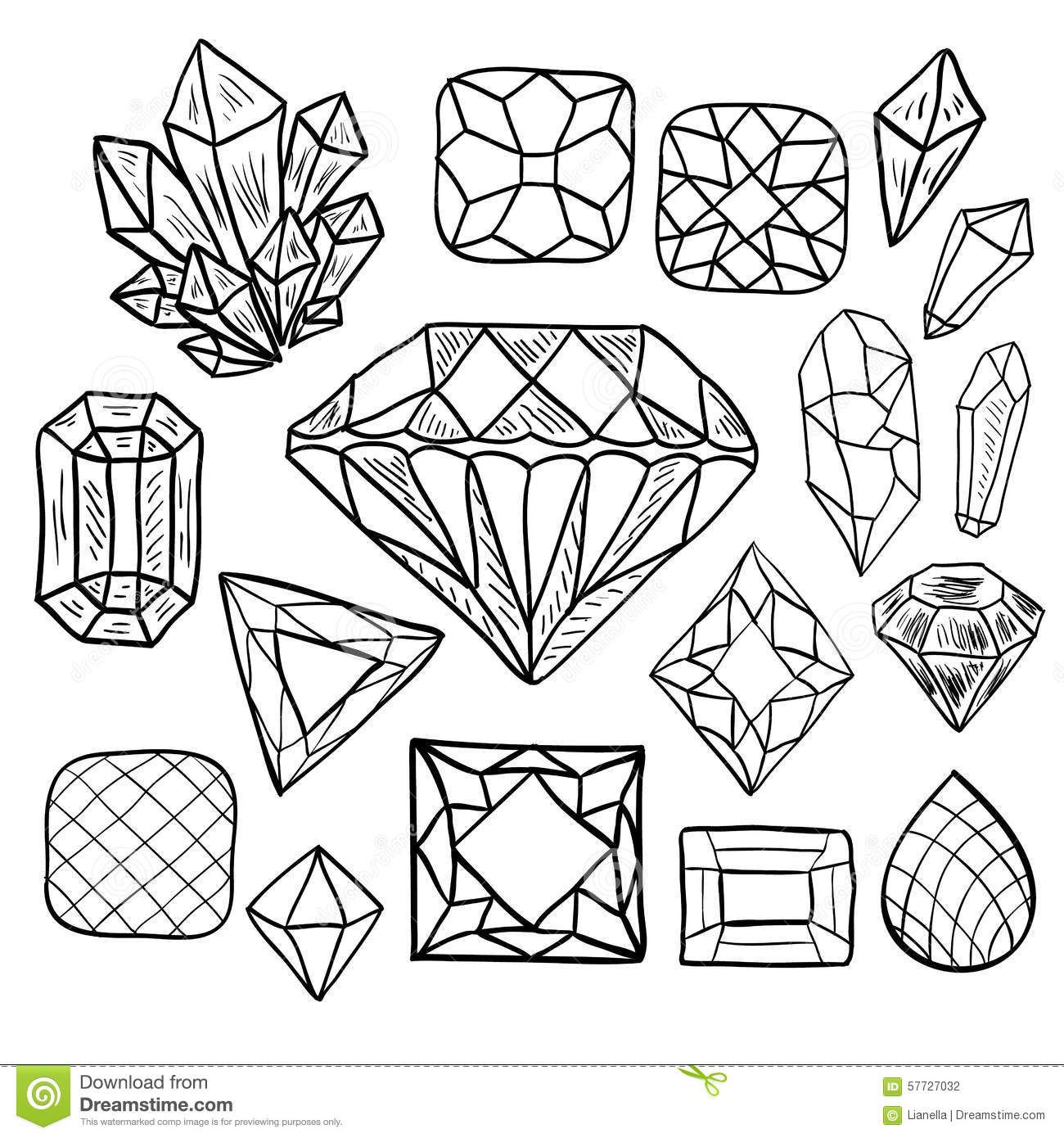 Draw Gemstone Shapes Shape Coloring Pages How To Draw Hands Crystal Drawing