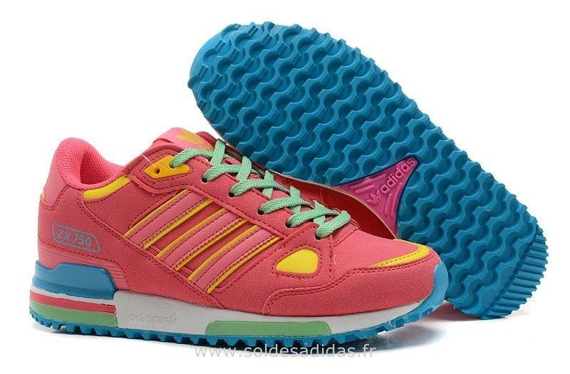best loved 779e1 ce5ae Adidas Originals ZX 750 Femmes Chaussures Rose Bleu Jaune Vert Zx Trainer  Adidas Soldes-31