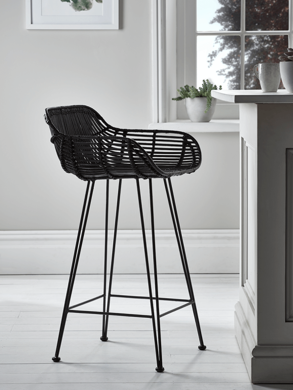 Flat Rattan Counter Stool Black With
