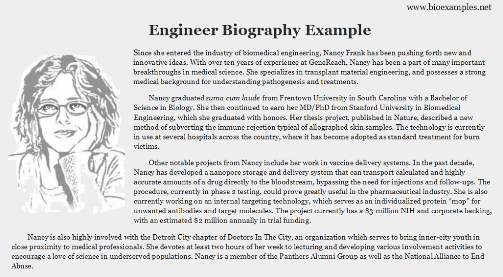 Engineer bio example bio examples pinterest