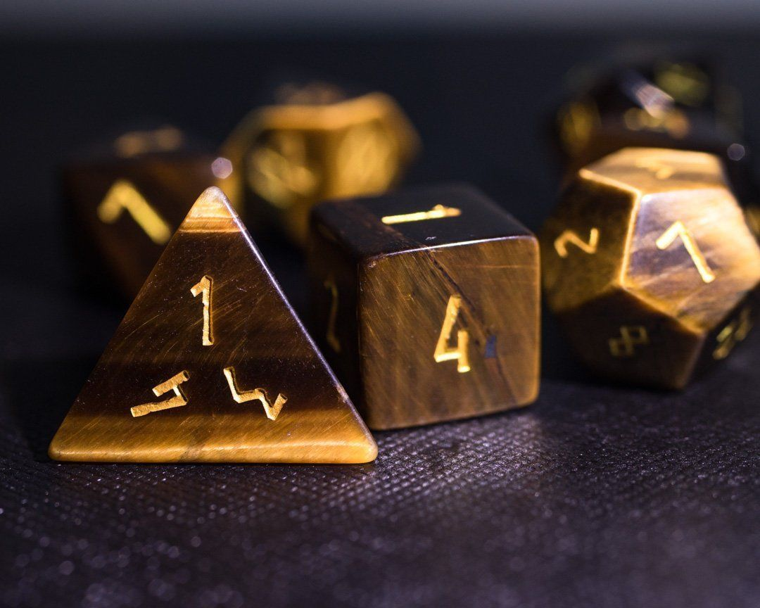 Engraved DnD Dice Set Stone RPG Dungeons and Dragons Dice Set Crystal Polyhedral Gemstone Dice Set Gold