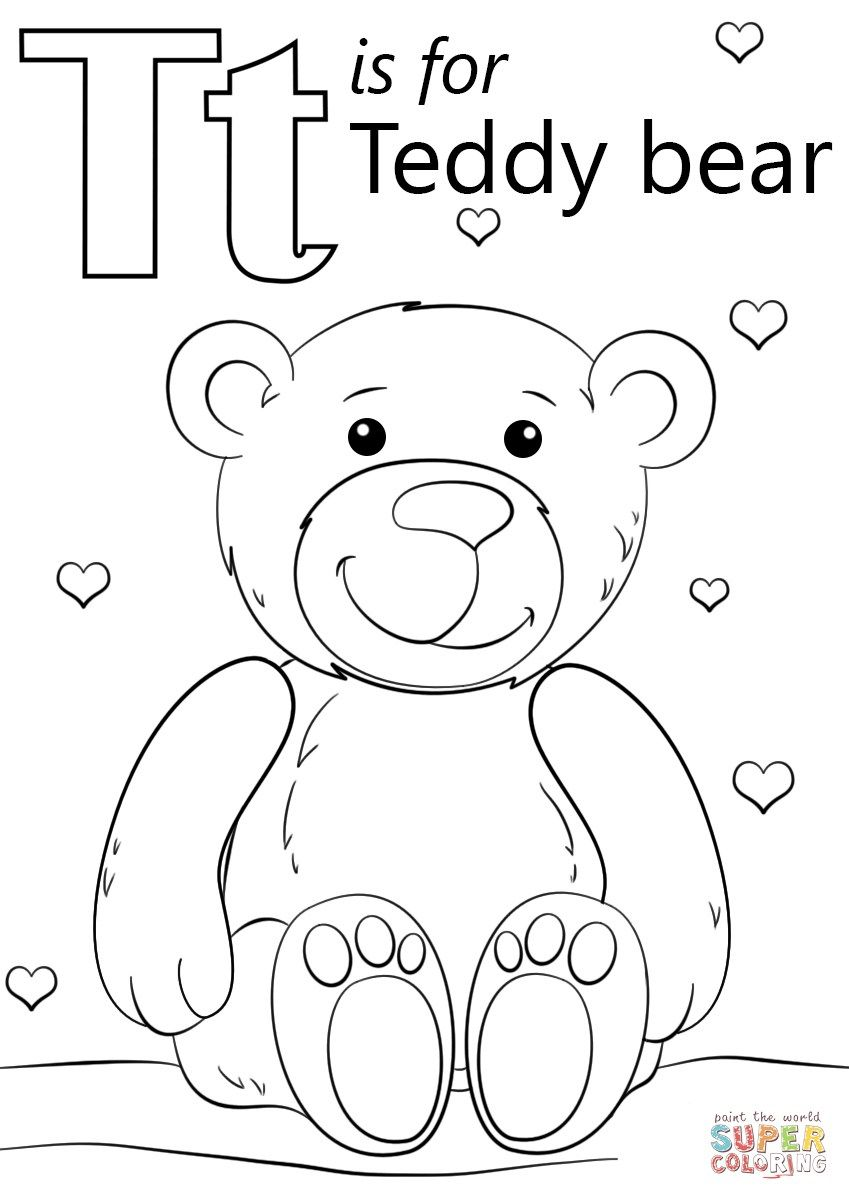 Great Image Of Letter T Coloring Page Davemelillo Com Teddy Bear Coloring Pages Alphabet Coloring Pages Bear Coloring Pages