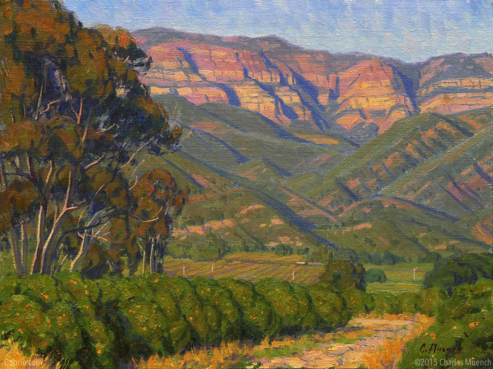 """Approaching Twilight—Ojai"" by Charles Muench; 12""x16""; Oil on Linen #CaliforniaArt #EnPleinAir #LandscapeArt"