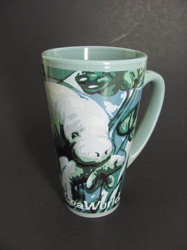 Sea World Manatees Cows Tall Ceramic Coffee Mug Cup Blue Green Oz Seaworld