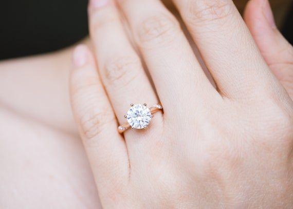 Metal 14k Or 18k Gold Please Choose Your Prefered Rose Gold Diamond Ring Engagement Rose Gold White Gold Wedding Ring Moissanite Engagement Ring Solitaire