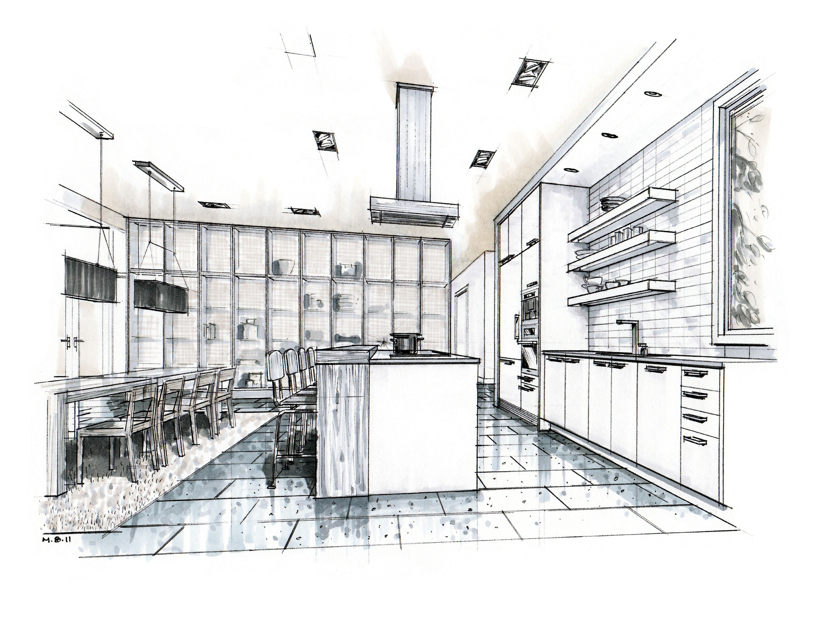 Kitchen Drawing Perspective hand drawn perspective rendering | hand rendering | mick ricereto
