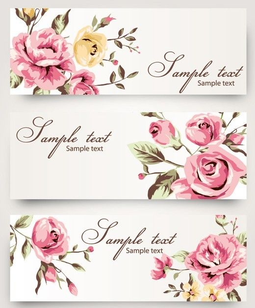 Vintage Vector Banner With Watercolor Flowers Vector Flowers