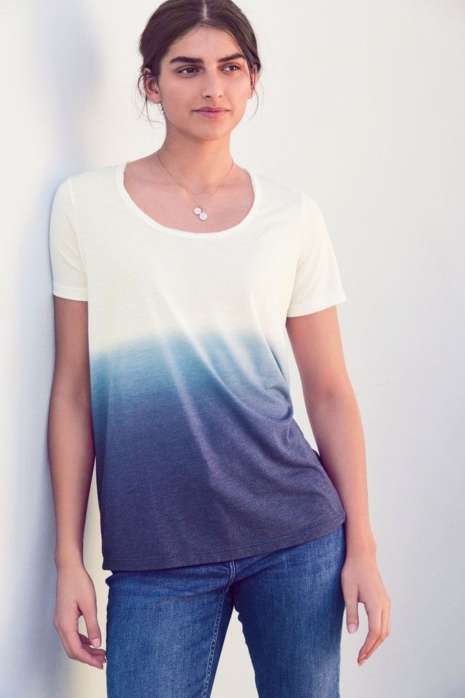 Womens Next Navy Ombre Tie Dye T-Shirt - Blue (With images ...