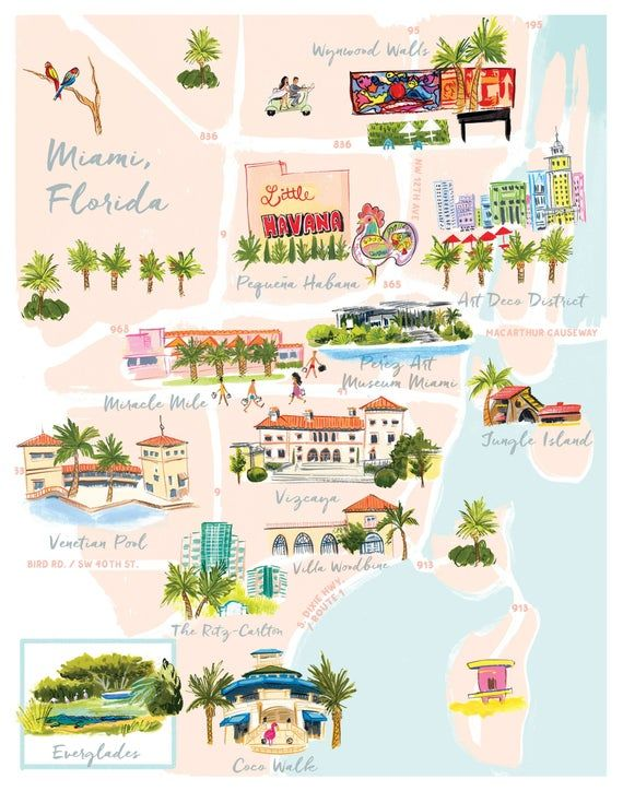 Miami Florida Map Print Feat Little Havana Miracle Mile Vizcaya Jungle Island Art Deco Dist In 2021 Map Of Florida Little Havana Miami Map