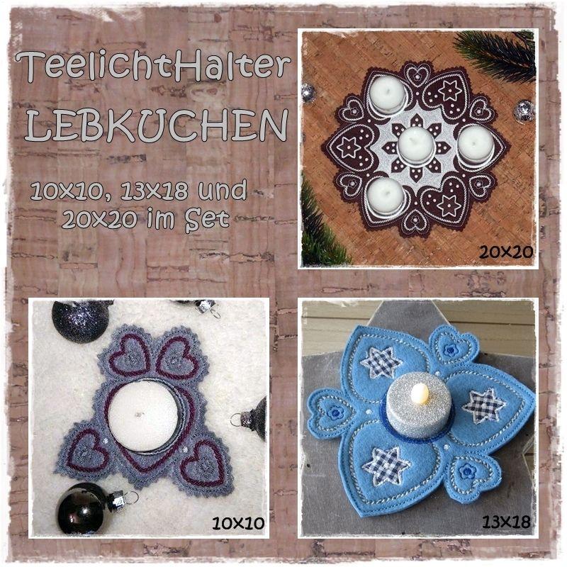 TeelichtHalter LEBKUCHEN SET 10x10, 13x18 und 20x20   Sticken ...