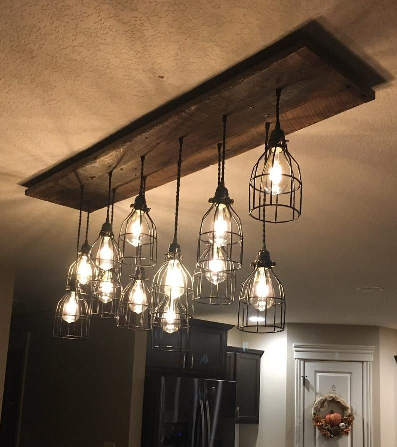 5 Pendant Reclaimed Wood Chandelier, Black Round Cages, Edison Bulbs